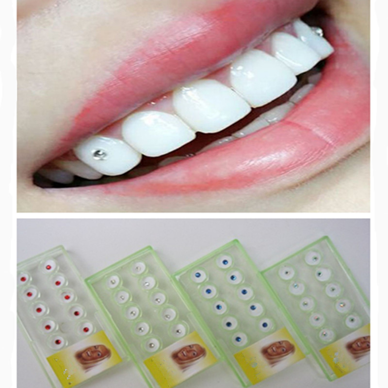 10PCS New Dental Material Teeth Whitening Studs Denture Acrylic Teeth Crystal Ornament Oral Hygiene Tooth Decoration