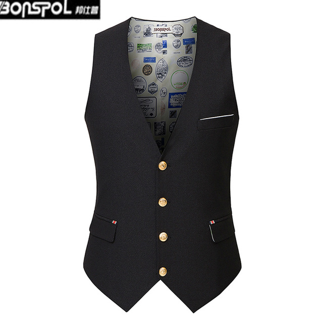 Brands BONSPOL  2016 new men's Vest fashion slim suit vest vest s casual solid tide Classic Mens Suit Vest Formal Wedding Dress