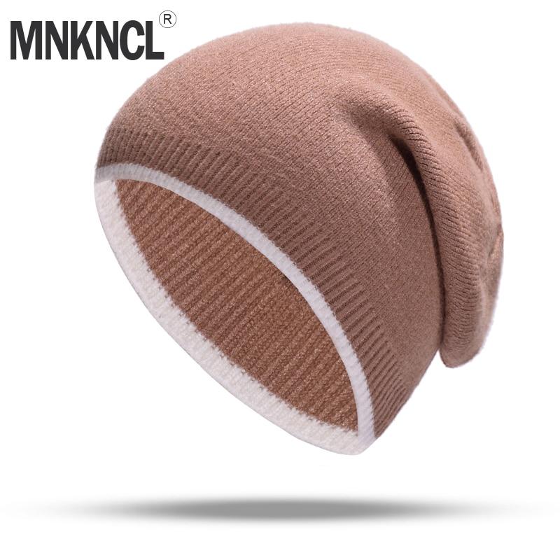 MNKNCL Fashion Autumn Knitted Hat Female Winter Hat Women Cashmere Keep Warm   Skullies     Beanie   Hat