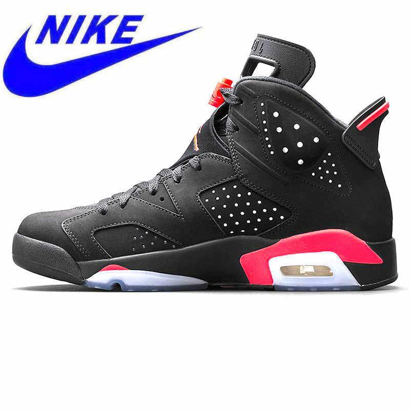 Nike Air Jordan 6 Black Infrared AJ6 Мужская Баскетбольная обувь, черный и  красный, амортизация e5ffc94e0e3