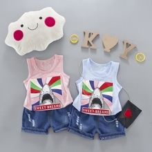 Baby Boys Clothing Sets Cartoon Sleeveless Vest Tank Tops + Jeans Denim Shorts Kids Summer Sport Casual 2Pcs Suits