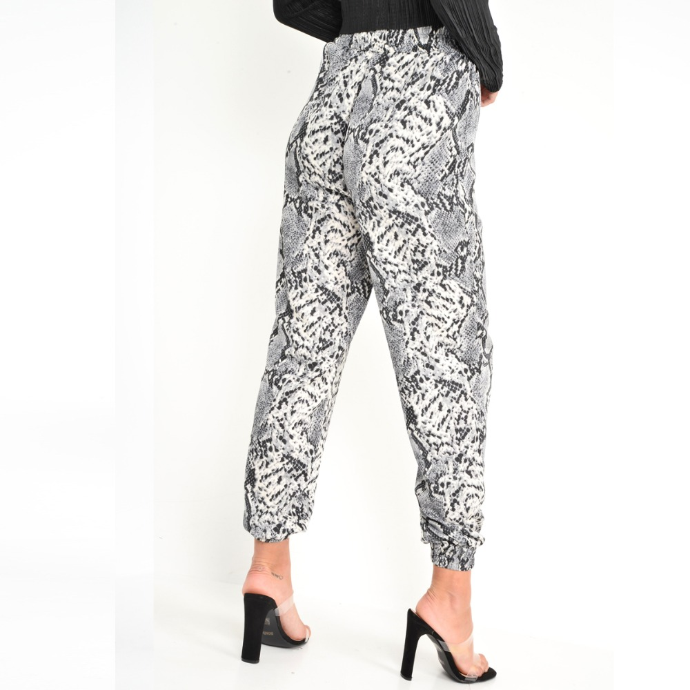 New Women Animal Pattern Trouser Casual Snake Skin Printed Harem Pants Elastic pleated female casual ankle length trousers 10