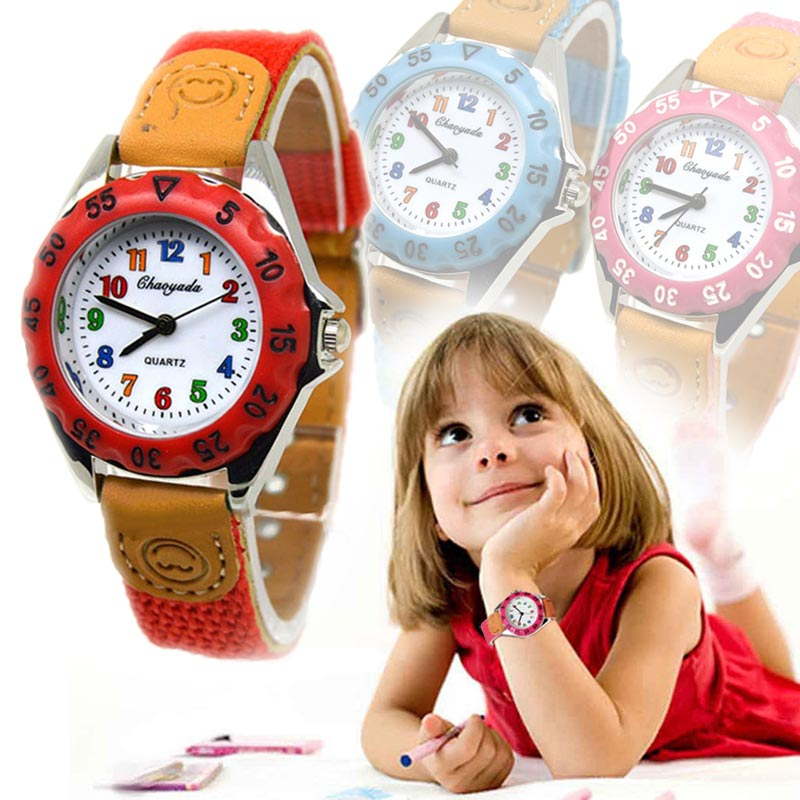 Quartz-Watch Clock Fabric-Strap Gifts Girls Boys Kids Children's Cute Time Student Newly