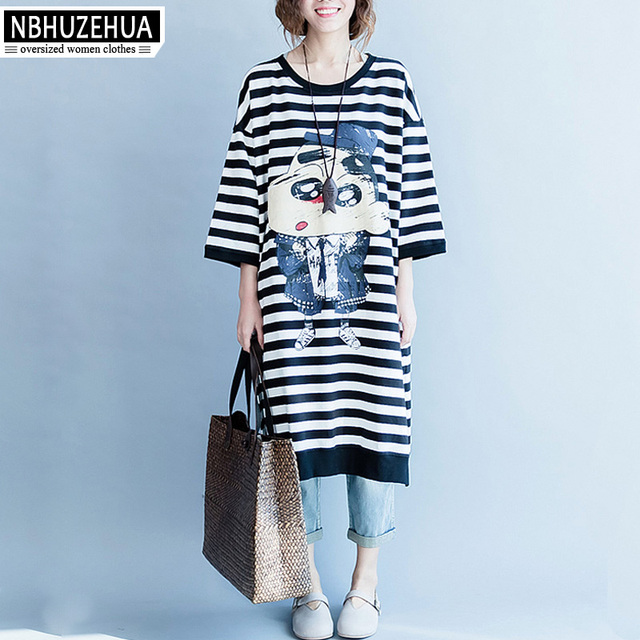 82758da4422 NBHUZEHUA 7G573 Plus Size Dresses For Women 4XL 5XL 6XL Korean Fashion  Cartoon Print Stripe Dress