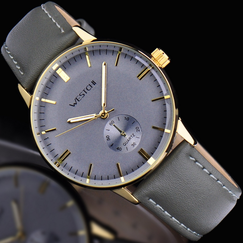 2016 Top brand men wristwatch waterproof sports watches men genuine leather strap luxury casual quartz hot