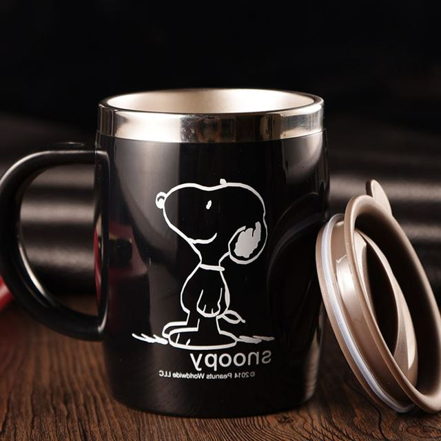 Snoopy 420ML Mug Coffee Cup Stainless Steel Milk Tea Mug Keep Mugs With Handle Anti-Dust Coffee Cups Seal Mass Tea Water Bottle