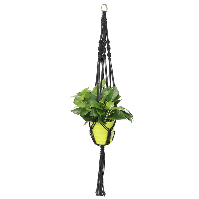 2018 NEW Handcrafted Braided Natural Jute Macrame Hanging Basket Plant Pot Holders Garden,Black