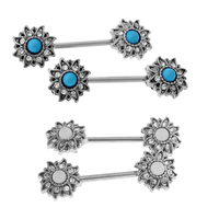 2 Pairs Retro Tribal Shield Nipple Bar Barbells Stainless Steel Body Jewelry