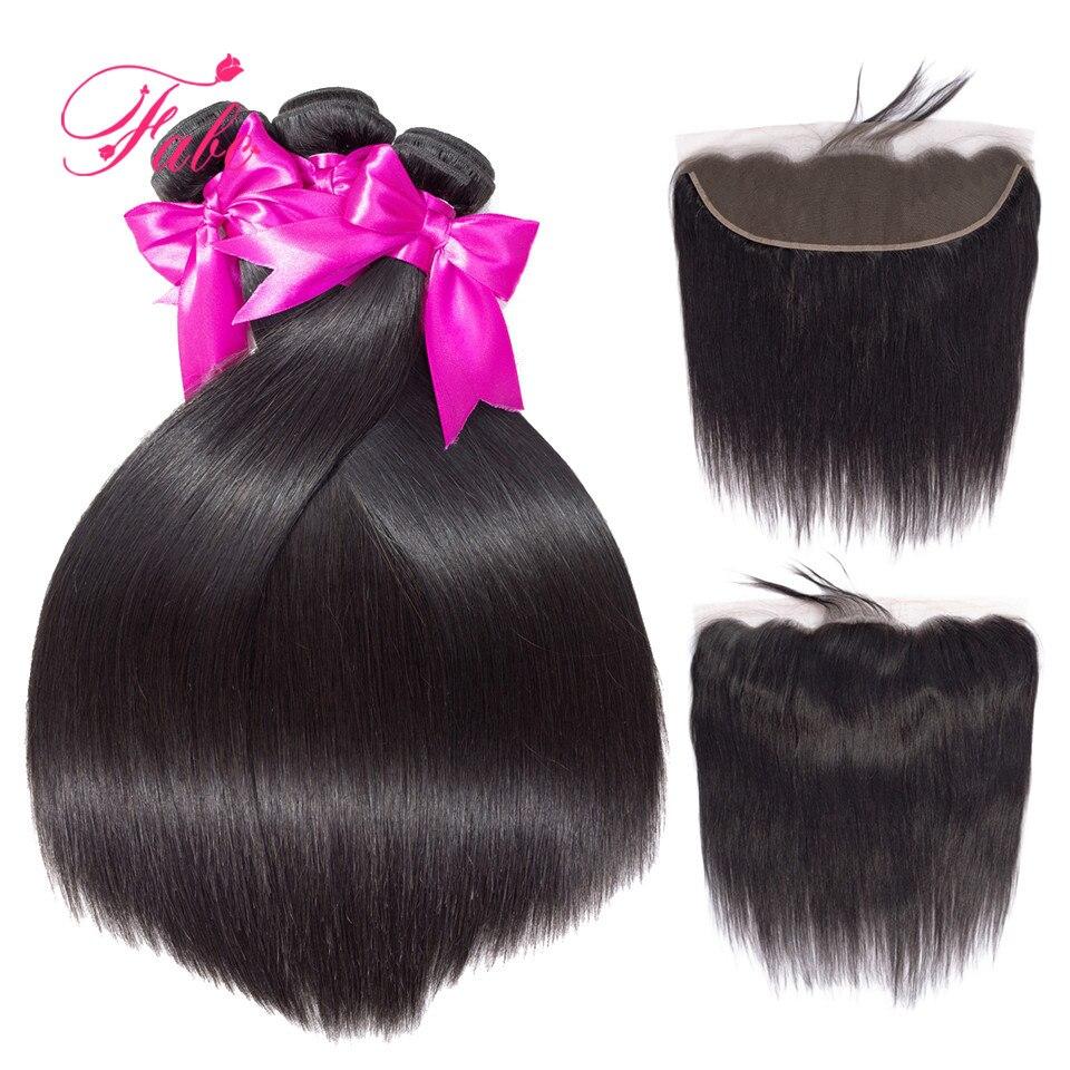 FABC Hair brazilian hair weave bundles with frontal non remy straight hair 3 bundles human hair