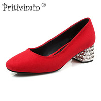 Pritivimin FN153 signore nero rosso squaretoe tacco alto scarpe fatte a mano le donne affollano in pelle tacchi ragazze fashion designer pompe