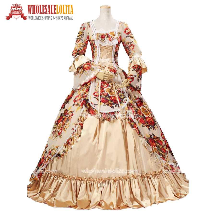 Top Sale 18th Century Rococo/Georgian Fashion Marie Antoinette Victorian Jacquard Renaissance