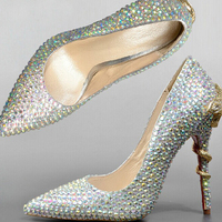 Silver Stiletto Heel Genuine Leather Formal Shoes Pointed Toe High Heels Glitter Rhinestone Shoes Bridal Wedding Shoes