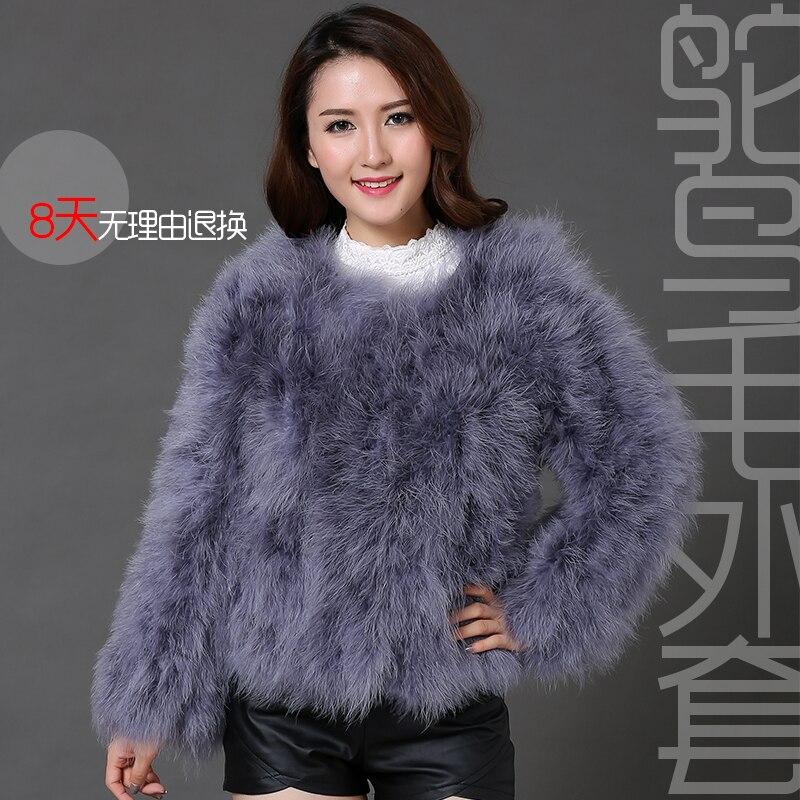 Femmes manteau de fourrure fausse autruche plume fourrure hiver veste Outwear Top qualité manteaux courts à manches longues O7