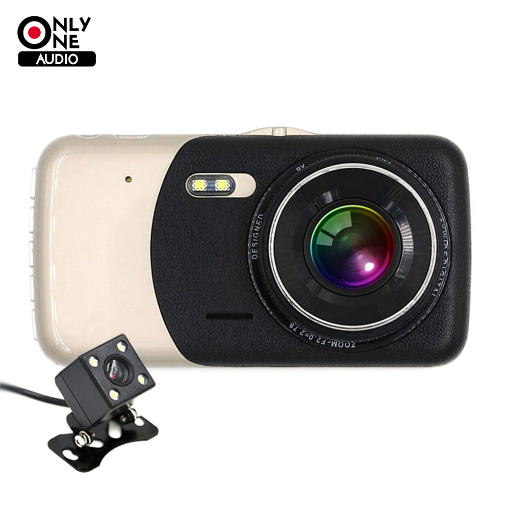 ONLY ONE AUDIO 4.0 inches Dual lens Car DVR Camera HD 1080P Auto Dash Cam Video Recorder With LED Night Vision Rear View Cameras