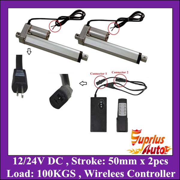 Two Sets 12v Linear Actuator 2inch/ 50mm Stroke, 225lbs/ 100kgs Max Load electric linear actuator with 1V2 Wireless ControllerTwo Sets 12v Linear Actuator 2inch/ 50mm Stroke, 225lbs/ 100kgs Max Load electric linear actuator with 1V2 Wireless Controller