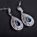 Shinning Water Drop CZ Zircon Wedding Earrings Hollow With Stone Women Gold Plated Bridal Blue Drop Brincos Mulheres Ohrringe