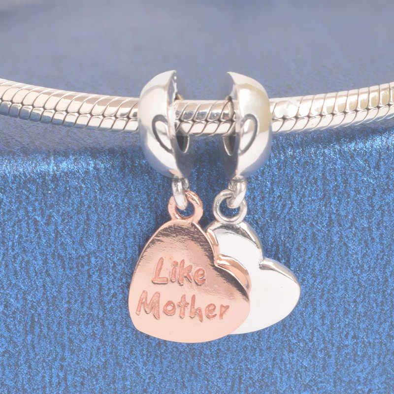 Соответственные Пандоре обаятельные браслеты серебро 925 фактически два сердца, таких как Mother, мамы, сына и дочки, подвески из розового золота S925 Семья бусины для изготовления ювелирных изделий
