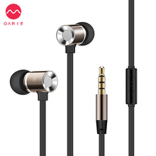 OARIE 3.5mm Earphone Stereo Metal Earphones with Mic Heavy Bass Earbuds Noise Canceling for Phone iPhone PC Hi-Fi Earphones