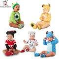 Newborn Baby Girls Clothes Cotton Infant Baby Costume Cartoon Toddler Boy Jumpsuit Animal Bodysuit+Hat Baby Girls Clothing Sets