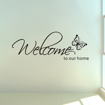 'Welcome To Our Home' Text Patterns wall sticker home decor living room Decals wallpaper bedroom Decorative butterfly Stickers - discount item  13% OFF Home Decor