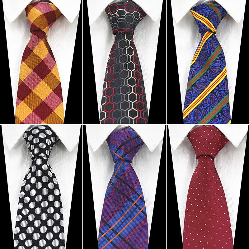 RBOCOTT Red Wedding Novelty Geometry Ties 8cm Men's Fashion Yellow Plaid Purple Striped Black And White Dot Blue Paisley Necktie