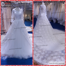 Elegante custom made branco tulle vestido long train full lace appliqued vestido de noiva(China (Mainland))
