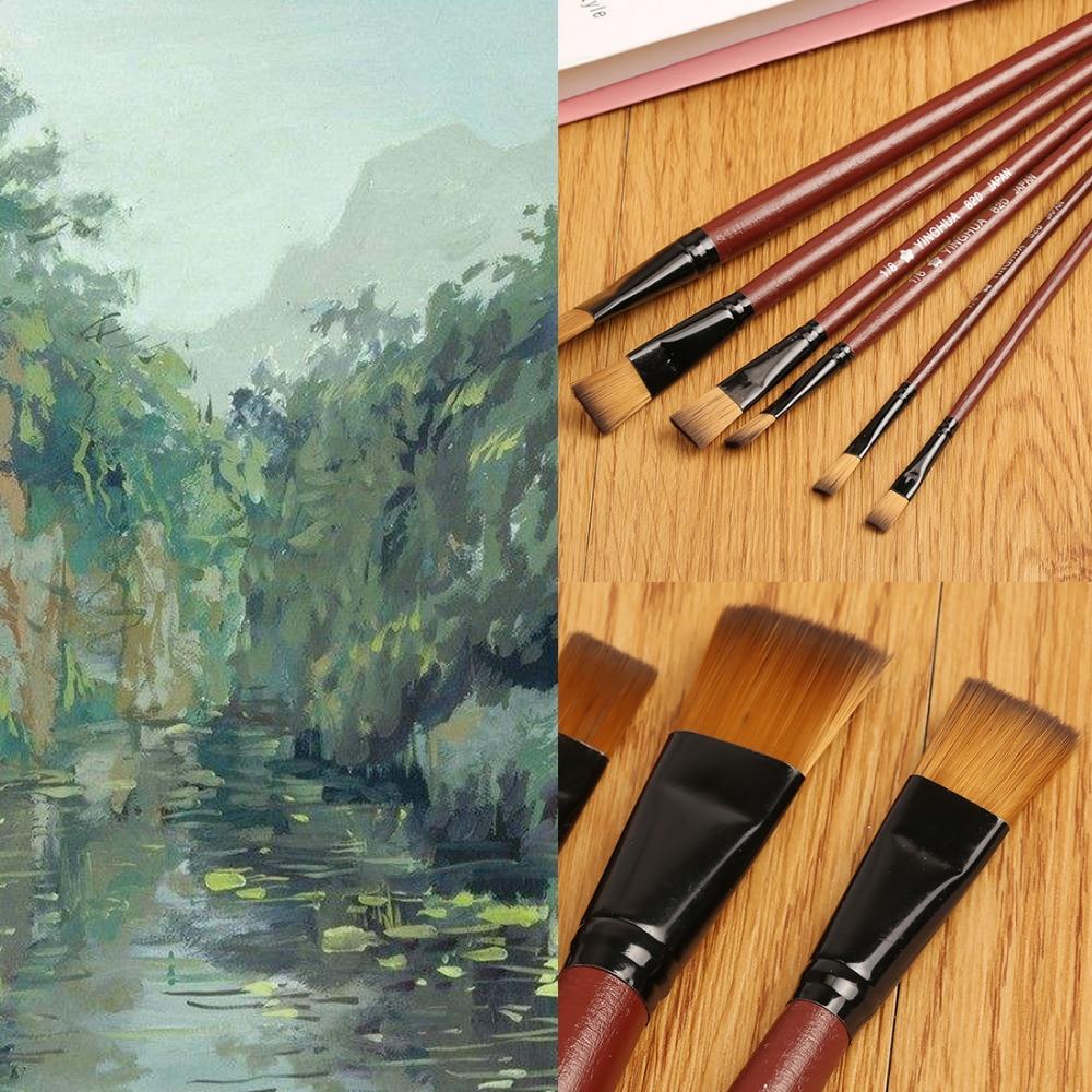 6pcs/set Different Shape Nylon Hair Paint Brush Set Wooden H