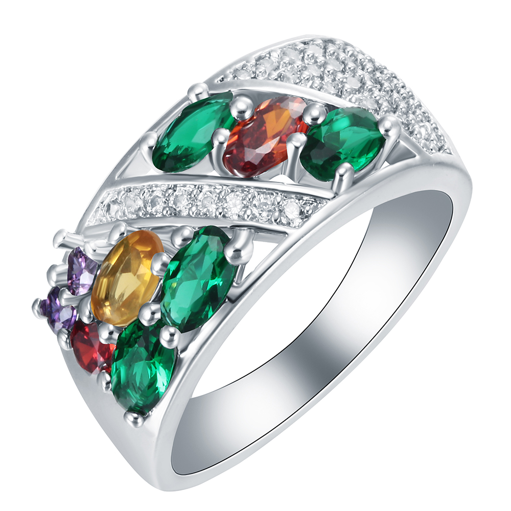 New Fashion Women silver plated ring green yellow purple red Colorful Zircon high quality wholesale wedding engagement gift ring