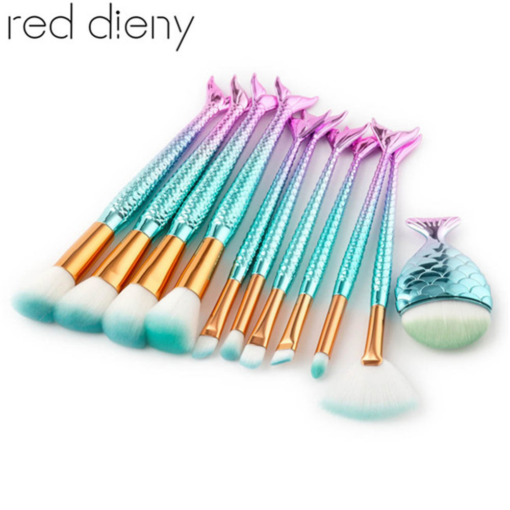 11pcs Mermaid Shaped Makeup Brushes Set Fish Tail Foundation Powder Eyeshadow Blusher Contour Blending Cosmetic Brushes Kit Tool недорого