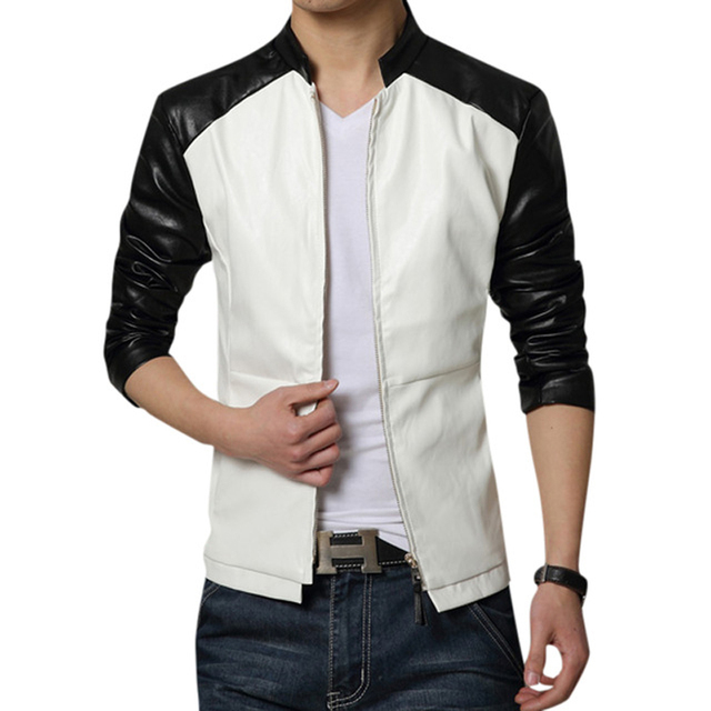 2016 New Fashion Men's Jacket PU Leather Slim Autumn&Winter Leisure Cool Black&Blue Coat For Man Drop Shipping MWJ812