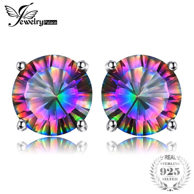 JewelryPalace Stud Earrings Women 925 Sterling Silver 2ct Genuine Mystic Rainbow Topaz Lovely Fashion Fine Jewelry