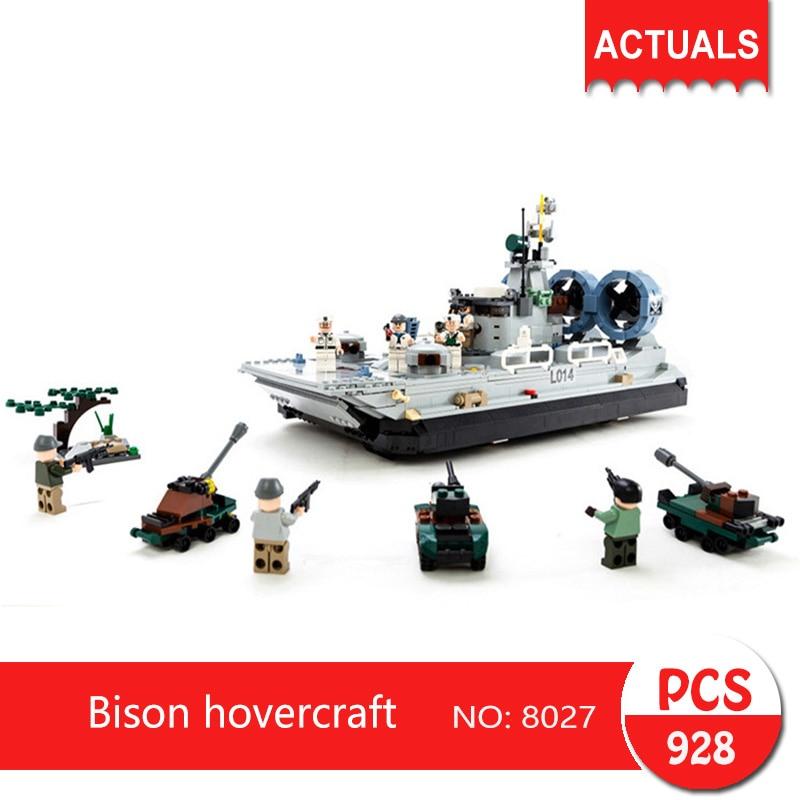 gudi 8027 928Pcs Military series Bison hovercraft Model Building Blocks Set  Bricks Toys For Children Gift 8 in 1 military ship building blocks toys for boys