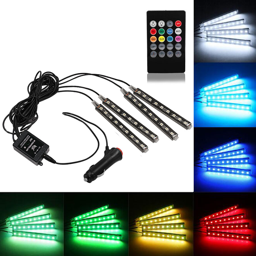 2016 Interior Decorative Atmosphere Neon Light Lamp LED Wireless Multi Color RGB Voice Sensor Sound music control Car Lighter 2 4g wireless control 360 rgb color neon glow interior underdash foot seat accent ambient light for vauxhall ampera 2012 2016