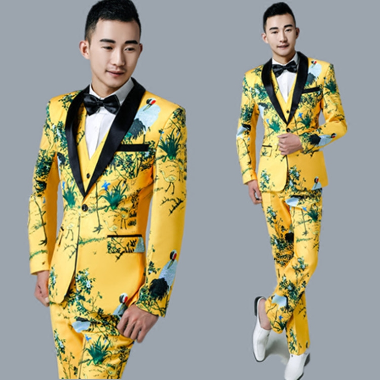 Chinese Style Retro Custom Made Men's Slim Suits Moderator Tailor Suit Blazers Suits For Men Singer Costumes (Jacket+pants+vest) moderator