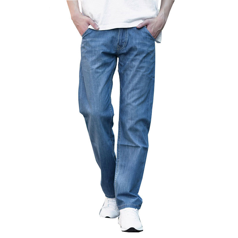 Men's Casual Jeans Spring And Summer Thin Section Loose Straight Jeans Cotton Men's Large Size Waist Men's Pants Size 44 46 48