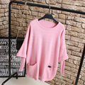 Pink Sweaters Women Casual Pocket Loose O-neck Drop-shoulder Plus Size Sweater Pullovers KK2238
