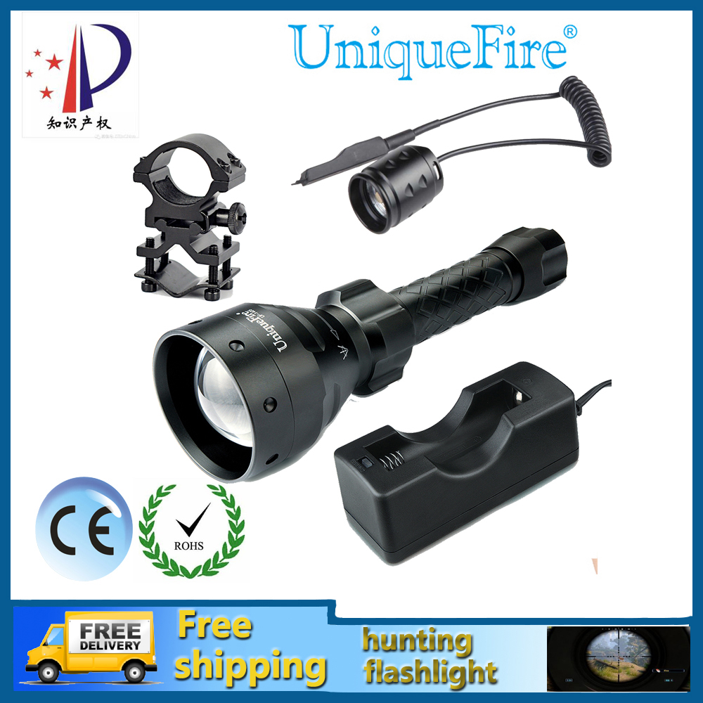 ФОТО Uniquefire UF-1405-XP-G Waterproof Zoomable 5-Modes 3W Black LED Bulbs Tactical Flashlight+Rat Tail+Gun Mount+Charger