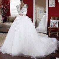 Pure White Tulle Wedding Skirts A Line Puffy Elegant Bridal Skirts Sweep Train Custom Made High Waist Zipper Women's Skirts