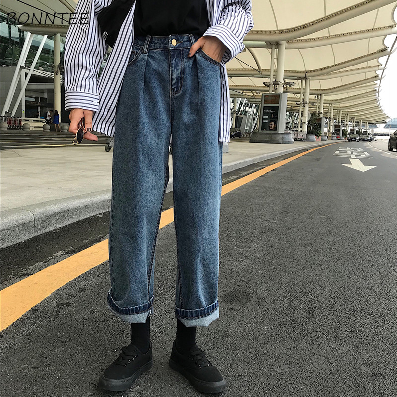 Jeans Women Chic Loose Simple Korean Style Casual Daily Harajuku All-match High Quality Trendy Student Pockets Womens Jean 2019