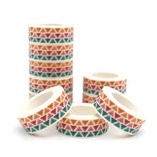 10メートル* 15ミリメートルクリエイティブカラー幾何学パターン和紙テープdiyマスキングテープ装飾スクラップブッキング粘着テープかわいい文房具