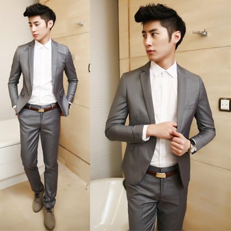 ( Jackets + Pants ) New premium brand groom wedding dress suits / Purple green black gray Pure color slim leisure business suits