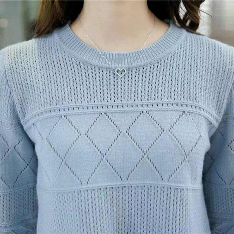 2019 패션 여름 풀오버 탑 속이 빈 여자 스웨터 귀여운 여자 하프 슬리브 스웨터 탑 숙녀 니트 점퍼 여성