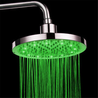 New Round Brass RGB 8 inch 12 LED 7 Colors Changing LED Shower Head Top Spray Showerhead Rain Shower Head
