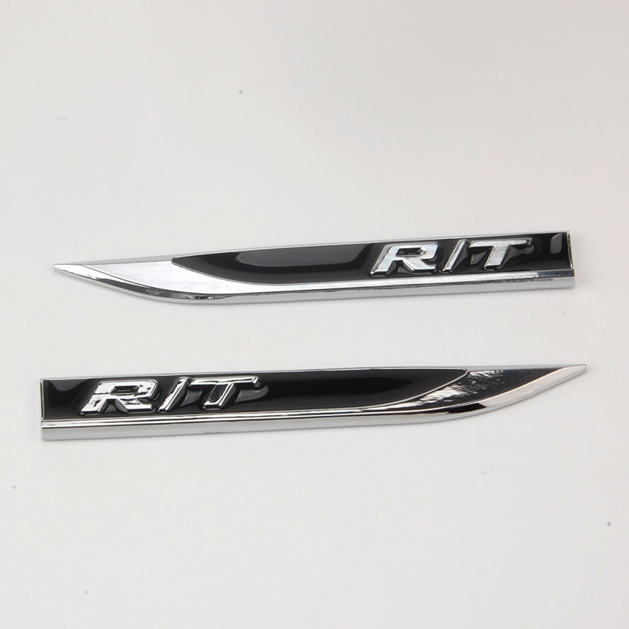 BBQ@FUKA Pair RT R/T Black Fender Skirts Knife Type Sticker Badges Emblems Fit For Challenger Car Styling Decoration Stickers