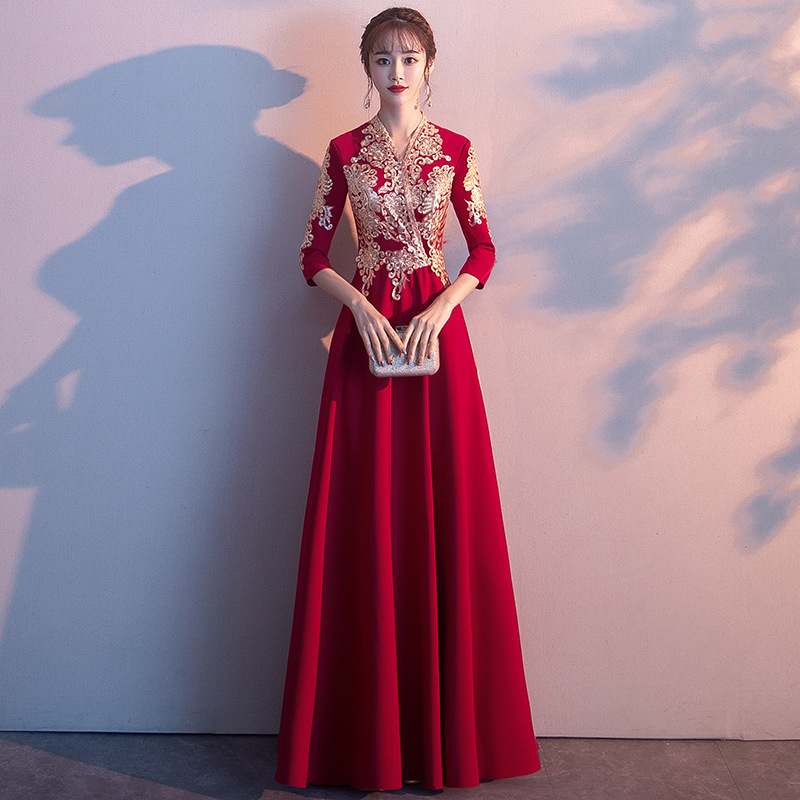 Rouge femmes col en v soirée Cheongsam robe de soirée élégante bal Maxi Qipao longue robe de bal rétro Vestido XS-XXXL