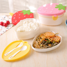 цена на Lovely Strawberry Lunch Box Food Container Storage Box Portable Kids Student Lunch Box Bento Box Container With Spoon Fork X