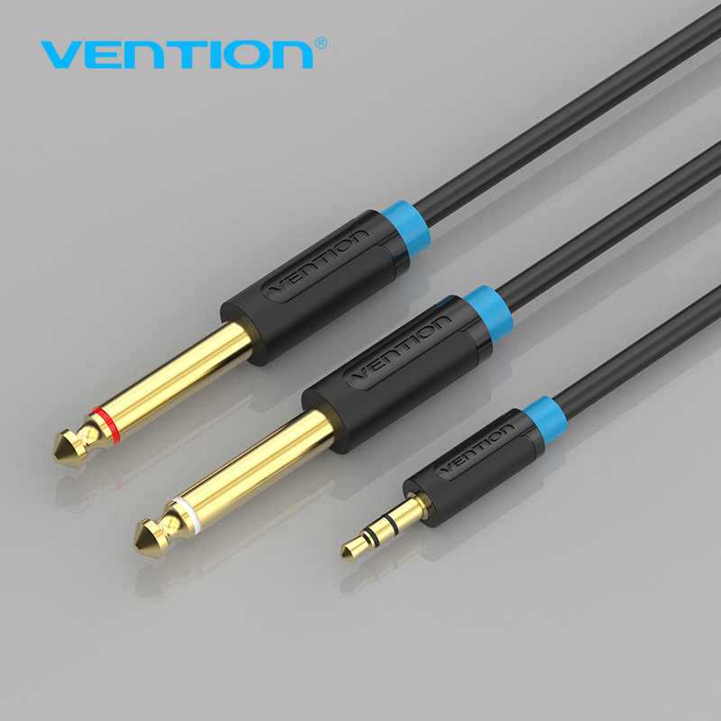 Vention jack 3.5mm a 6.35mm adaptador cabo de áudio para misturador amplificador alto-falante banhado a ouro 6.5mm jack macho divisor cabo de áudio