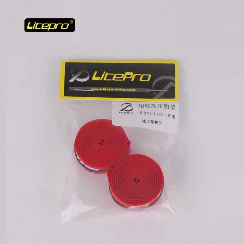 1 Pair Bike Tyre Cushion 20inch 451 Bicycle High Pressure <font><b>Tire</b></font> Pad Nylon Red For Folding Bike Road Bicycle Accessories Litepro image