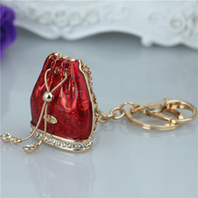 Crystal Rhinestone Alloy Keychain For Women Handbag Trinket Porcelain Fused Large Bag Key Ring Car Key Holder Chaveiro(China)