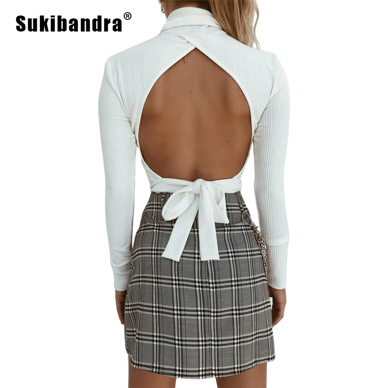 Women's Clothing Enthusiastic Sukibandra 2018 Autumn Long Sleeve Turtleneck Sexy Backless Crop Top Knitted Sweater For Women Lace Up White Pullover Jumper